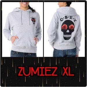 Obey XL Skull Sinners Hoodie from Zumiez NWT Grey